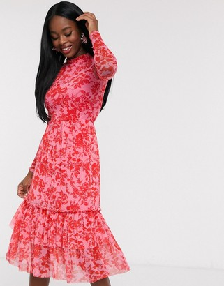 Outrageous Fortune high neck pleated mesh midi dress in red floral print