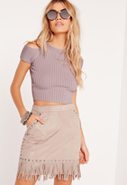 Missguided Cold Shoulder Crop Sweater Purple