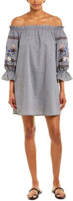 Paper Crane Embroidered Shift Dress