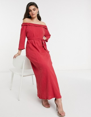 ELVI embroidered bardot dress in red