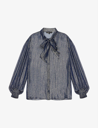 Maje Semi-sheer silk-blend blouse