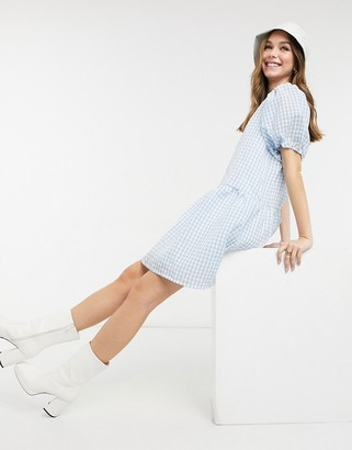 Pieces Marzipan puff sleeve smock dress in lichen blue