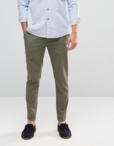 Asos Super Skinny Cropped Smart Trousers In Khaki