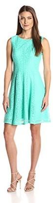 Sandra Darren Women's 1 Pc Sleeveless Solid Lace Burnout Fit & Flare Dress