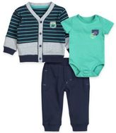 "Petit Lem Petit LemTM 3-Piece ""Route 66"" Cardigan, Bodysuit, and Pant Set in Navy/Green"