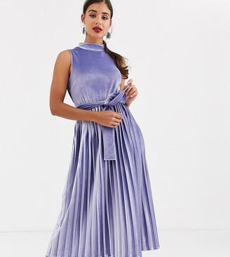 Asos DESIGN Tall Exclusive sleeveless high neck pleated open back velvet midi dress