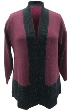 Karen Scott Plus Size Colorblocked Cardigan, Created for Macy's
