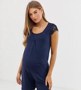 Mama Licious Mama.Licious Mamalicious maternity nursing lace trim jersey playsuit in blue