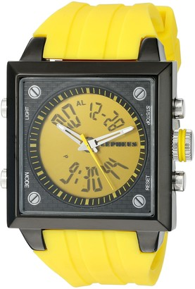 Cepheus Men's Quartz Watch with Yellow Dial Analogue - Digital Display and Yellow Silicone Strap CP900-690B