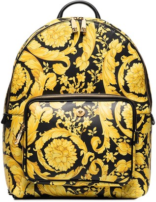 Versace Barocco print leather backpack