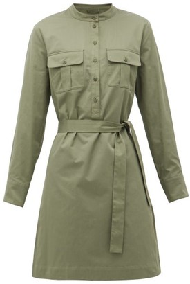 A.P.C. Martine Waist-tie Cotton Mini Dress - Womens - Khaki