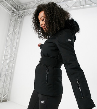ASOS 4505 Tall ski belted jacket with faux fur hood