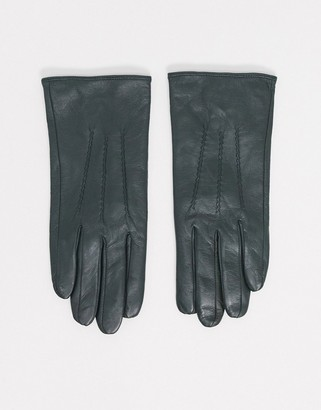 Barneys New York real leather gloves in green