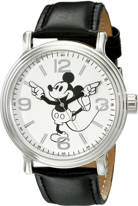 Disney Men's W001853 Mickey Mouse Silver-Tone Watch With Black Faux-Leather Band