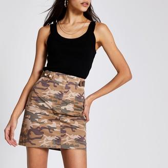 River Island Womens Beige camo twill mini skirt