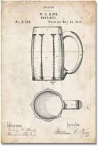 Vintage Parchment Beer Mug Patent Print