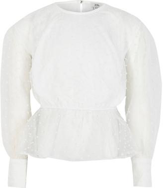 River Island Girls white organza puff sleeve peplum top