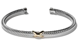 David Yurman 18kt yellow gold X silver cuff bracelet
