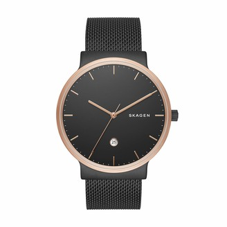 Skagen Men's Ancher Quartz Analog Stainless Steel and Leather Watch