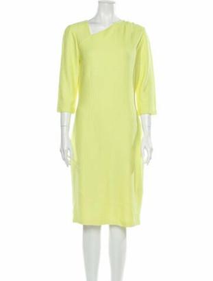 St. John Asymmetrical Knee-Length Dress Yellow