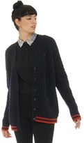 Fred Perry Womens Cable Knit Longline Cardigan Forest Night