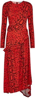 Preen by Thornton Bregazzi Naima snake-print jersey midi dress