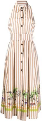 Cavallini Erika striped flared sleeveless dress