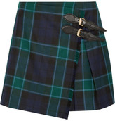 Burberry Pleated Tartan Wool Mini Skirt - Emerald