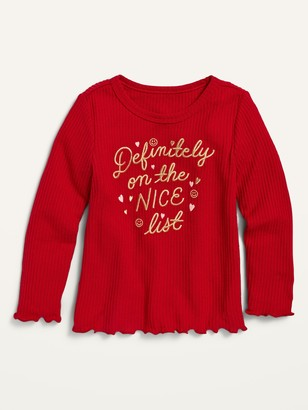 Old Navy Cozy Rib-Knit Graphic Long-Sleeve Top for Toddler Girls