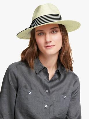 John Lewis & Partners Large Stripe Detail Adjustable Panama Fedora Hat, Cream/Multi