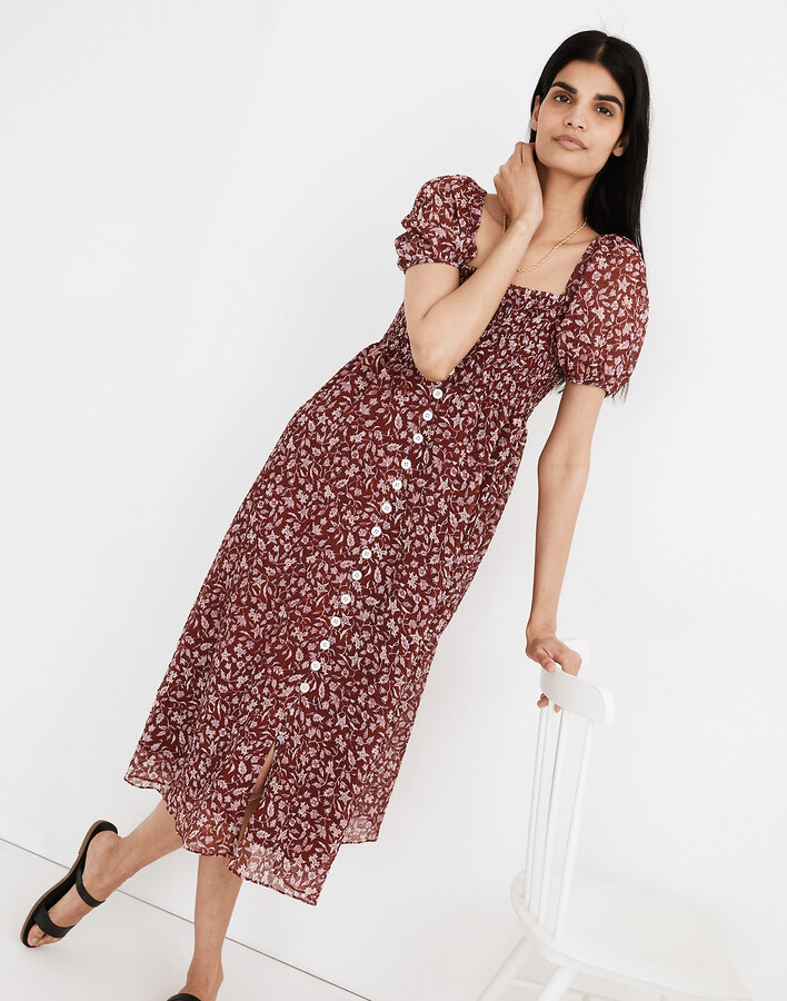 Lucie Smocked Button-Front Midi Dress in Batik Vine