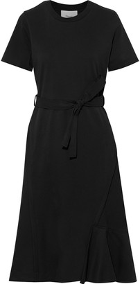 3.1 Phillip Lim Belted Wool-twill And Cotton-jersey Midi Dress