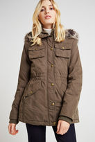BCBGeneration Faux Fur Trim Hooded Anorak - Tan