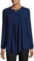Max Studio Pintucked Georgette Blouse, Purple Blue