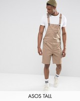 Asos TALL Short Overalls In Stone