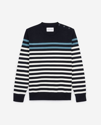 The Kooples Striped navy blue cotton sweater