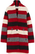Etoile Isabel Marant Gabrie Striped Wool-blend Bouclé Coat - Red