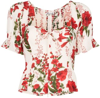 Reformation Delevan floral-print blouse