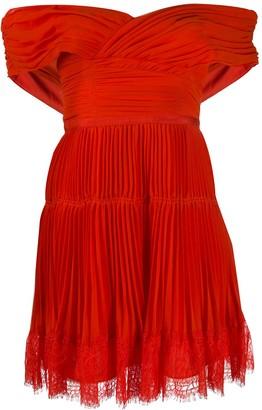 Self-Portrait Tiered Pleat Dress