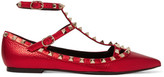 Valentino The Rockstud Embellished Metallic Leather Flats - Red
