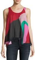 Joie Felixa Sleeveless Colorblocked Draped Silk Blouse