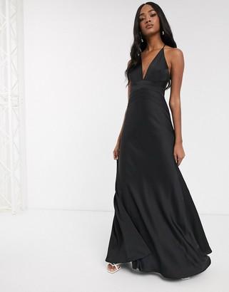 Asos Edition EDITION satin panelled cami maxi dress-Black