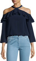 Alice + Olivia Layla Cold-Shoulder Ruffle Blouse, Navy
