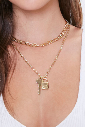 Forever 21 Lock Key Pendant Layered Necklace