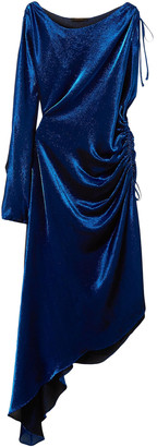 Juan Carlos Obando Asymmetric Metallic Stretch Silk-blend Maxi Dress