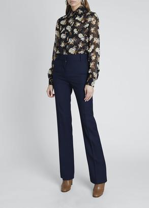 Victoria Beckham Floral Print Club Collar Fitted Button-Down Shirt