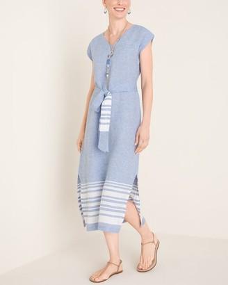 Chico's Striped-Hem Linen Dress