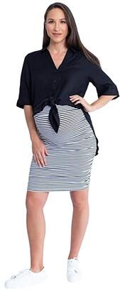 Angel Maternity Maternity Linen Shirt and Skirt (White/Black Stripe) Women's Clothing