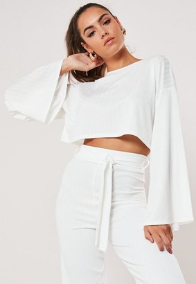 Missguided Cream Batwing Crop Top