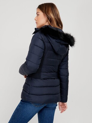 Very Short Padded Jacket With Faux Fur - Navy